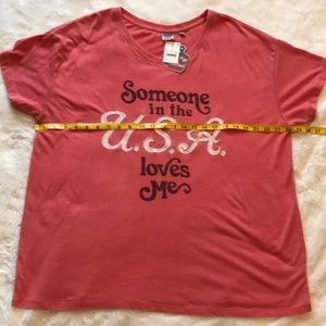 Junk Food Clothing Tops - Junk Food Someone In the USA loves me size 1X